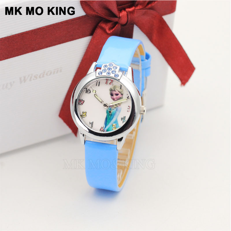 Luxury Snow Ice Children's Watch Cartoon Princess Anime Beauty Beast Pattern Dial Casual Kids Watches Leather Quartz Wristwatch