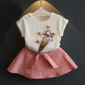 New Arrival 2016 Summer Fashion Design Girls Ice Cream Pattern T-Shirt + Pure Color Short  Skirt Two-Piece Suit Baby Girl Set