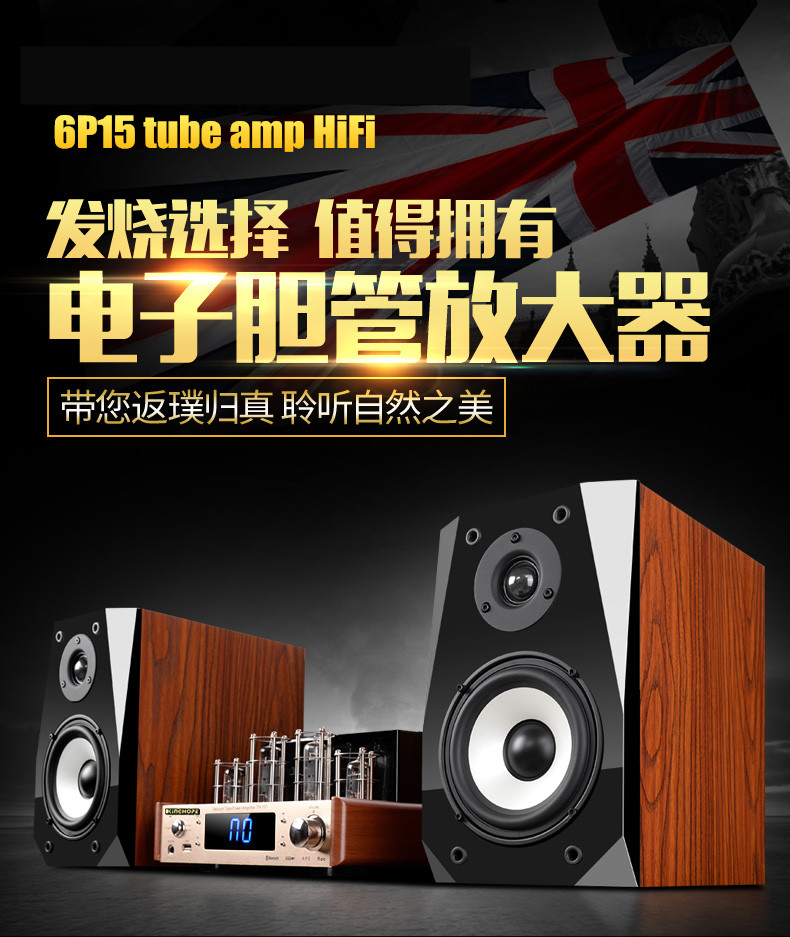 Valve Tube Power Amplifier Audio HiFi Set 6P15+6F1 80W+80W with acerbic wood speaker bluetooth/optical fiber/coaxial/USB 220V plywood
