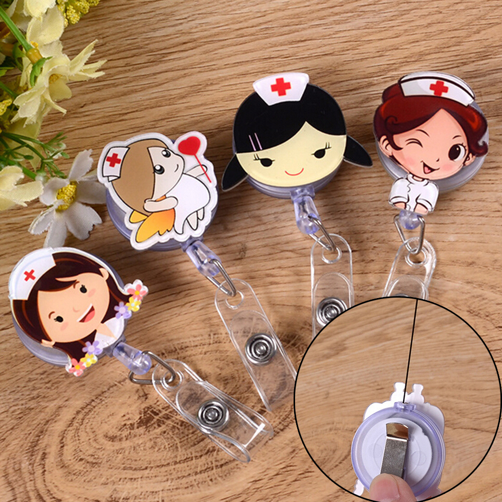 1pc Cute Retractable Badge Reel Student Nurse Exhibition ID Name Card Badge Holder Office Supplies