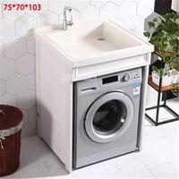 M 01 Space Aluminum Washing Machine Cabinet Household Balcony Storage Cabinet Bathroom Laundry Pool Basin Combination Cabinet
