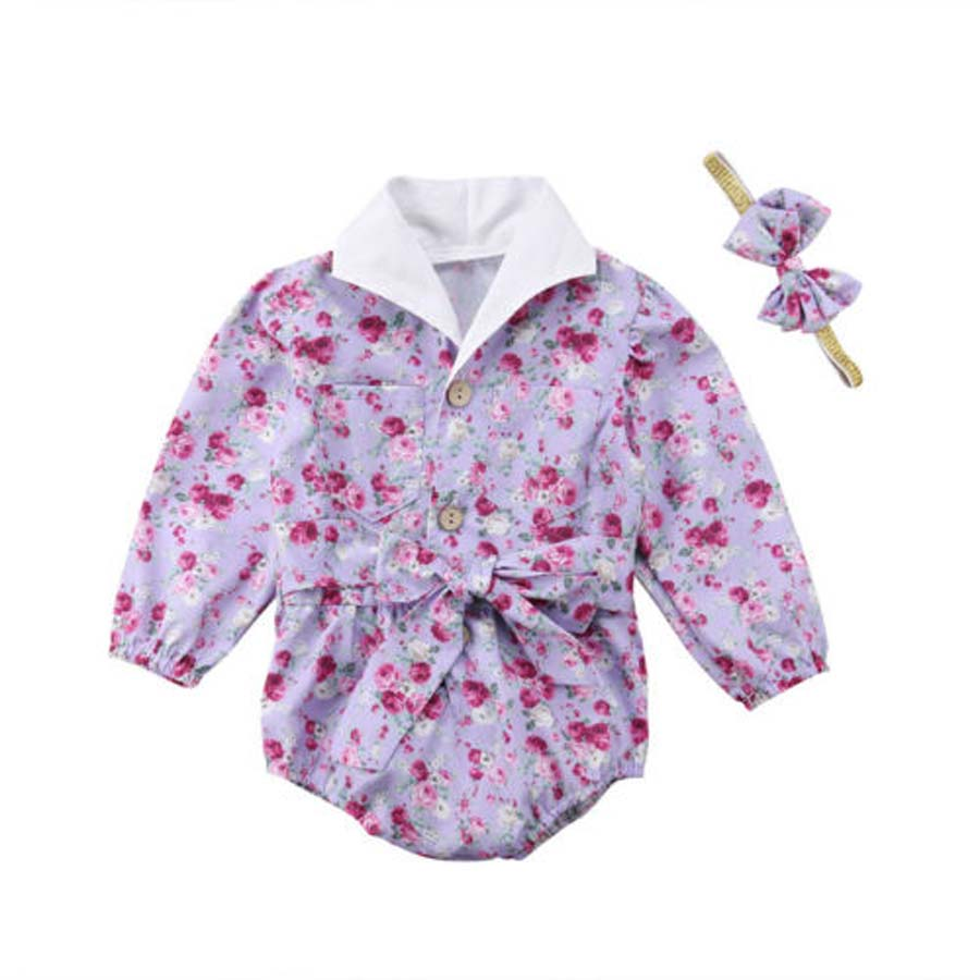 2018 New Button Cute Baby Clothing Newborn Baby Girls Flower Long Sleeve Bodysuit Bow Headband Kids Girl Clothes 2Pcs Sets 2016 brand new high quality fashion girls clothing sets bow hoodies flower mini tutu skirt 2pcs autumn spring baby kids clothes