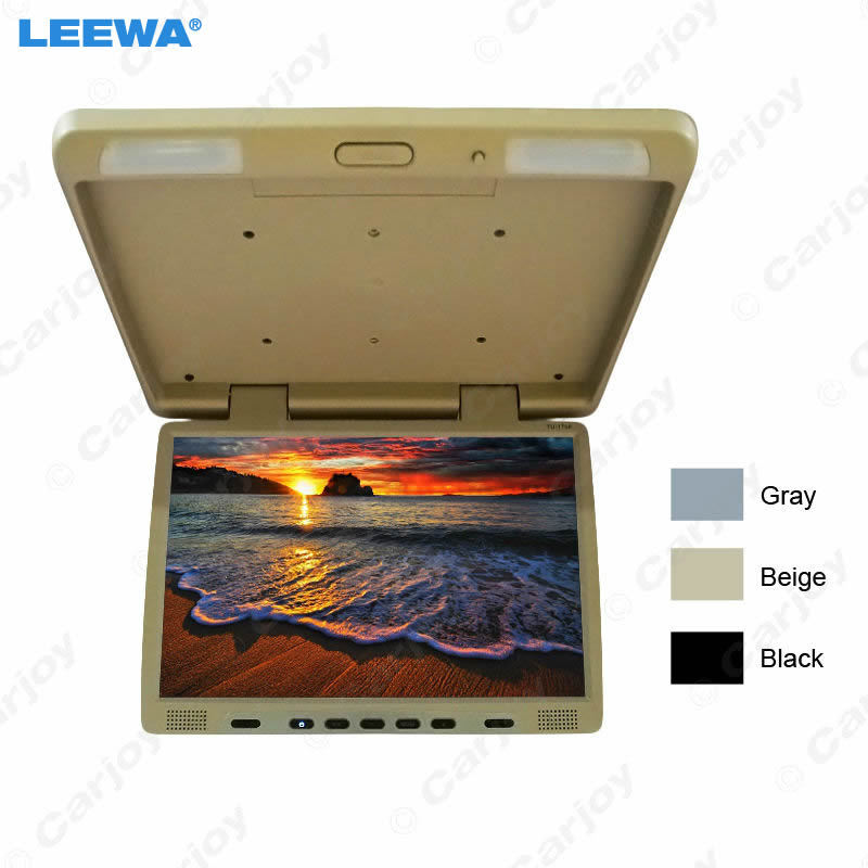 LEEWA 12V Truck Bus 17 inch TFT LCD Roof Mounted Monitor Flip Down Monitor For Car DVD Player 3-Color Black, Grey, Beige #1294 r407c r410a electric compressor for srv camping car caravan roof top mounted travelling truck ac