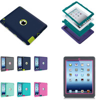 LD 1Pcs Silicone Back Cover Hard PC Hybrid Case For Apple IPad 2 3 4 Shockproof
