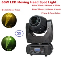 Free Shipping 2 Pack 60W Led Moving Head Spot Lights Pan 540/Tilt 270 Degree 3 Facet Prism Electric Focus Function CE ROHS