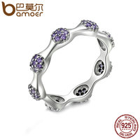 BAMOER Authentic 925 Sterling Silver Round Stackable Ring Purple Clear CZ Finger Rings For Women Wedding