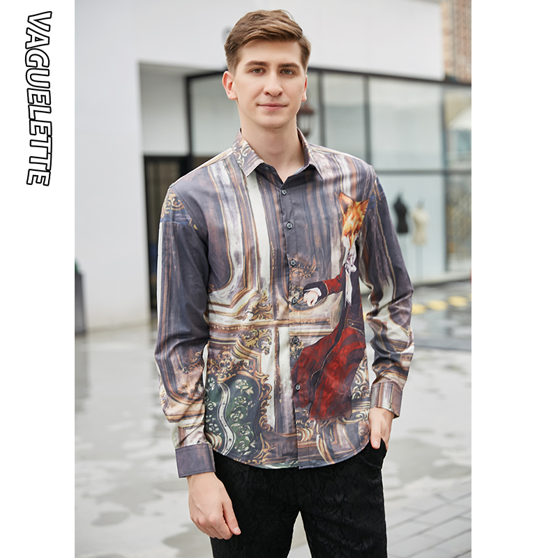VAGUELETTE 3D Printed Mr Fox Pattern Shirt Men With Long Sleeve Stage Wear Men Clothing Fashion Stylish Mens Dress Shirts M-3XL