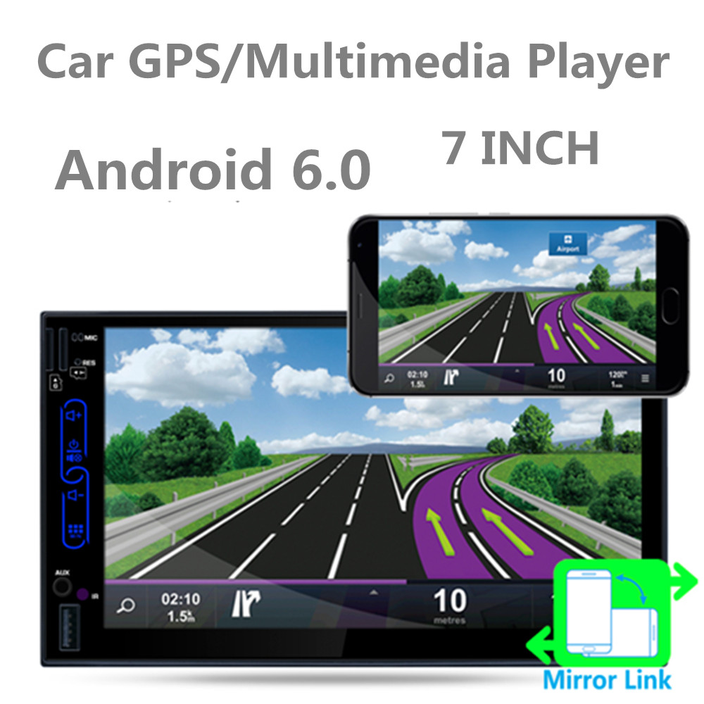 7 Inch QUAD Core Android 6.0 2 Din Bluetooth Car Radio RDS Digital Touch Screen GPS Navigation AM FM WIFI Auto Stereo Player
