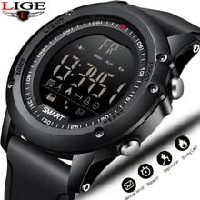 LIGE New men Sports Waterproof Digital Watch Climbing Pedometer Stopwatch Smart Wristband Smart Bracelet For Android iOS Relojes