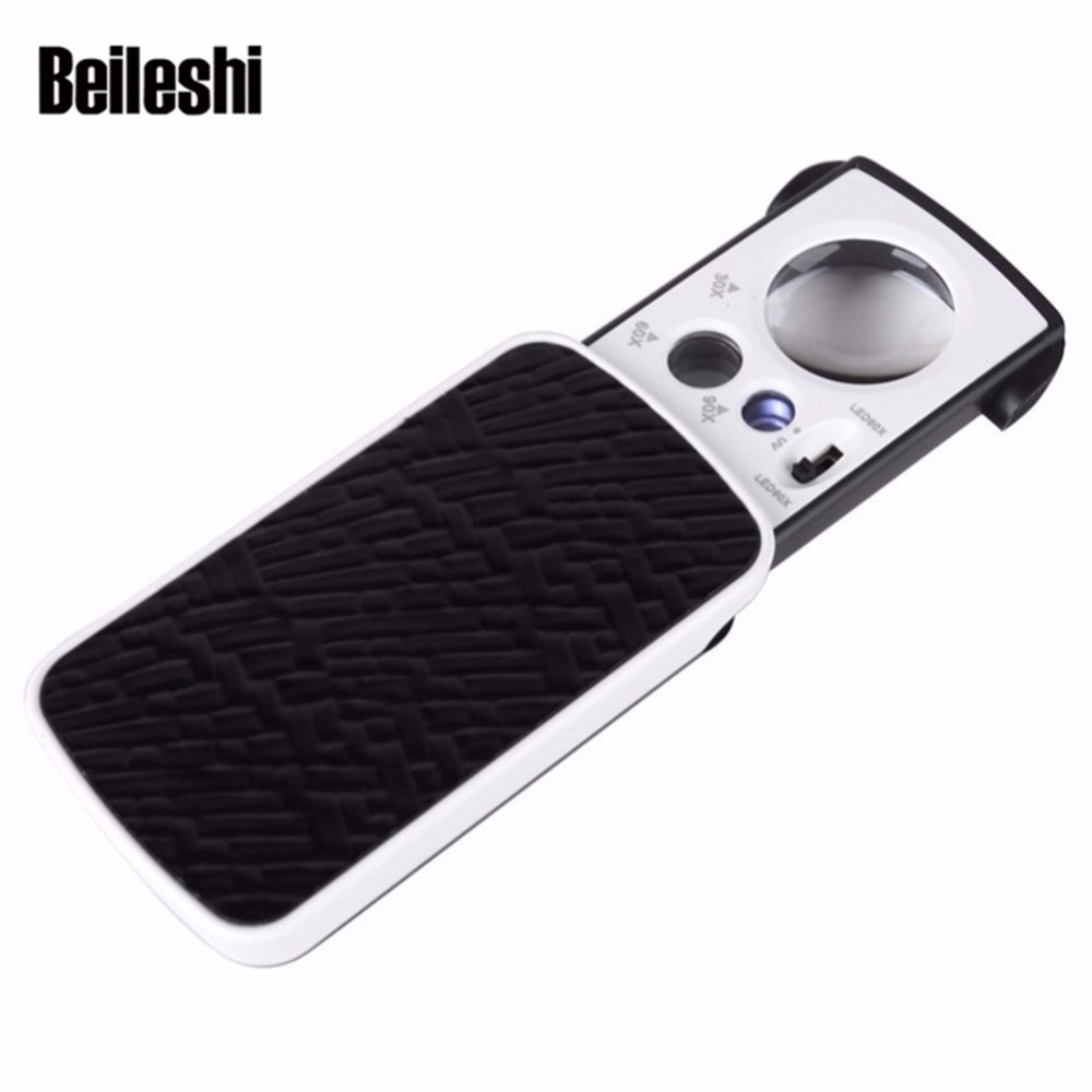 Beileshi Magnifier with UV LED Lighted Slide out Pocket Magnifying Glass 30X 60X 90X Multi-Power Small Size Portable Loupe стоимость