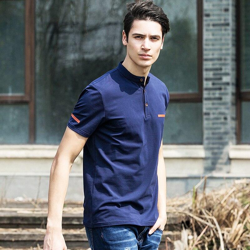 Pioneer Camp 2019 new summer mens t shirts dark blue mandarin collar t shirt men casual short sleeve t-shirts fitness 620028