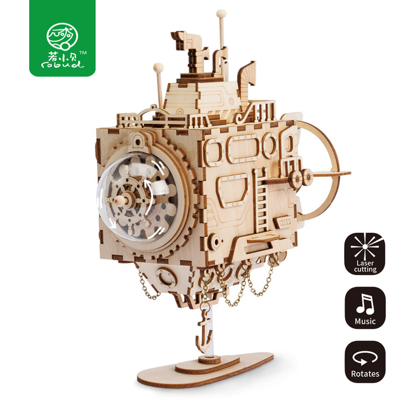 Robud Assembly Steam Punk Submarine Model Music Box Wooden Building Kits Toys Hobbies Puzzle Gift for Children AM680