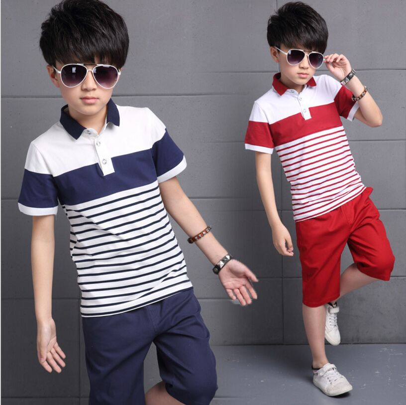 2018 New Summer Boys Set Casual Striped Cotton Sports Suit Children Short-Sleeved +Shorts 2 Piece