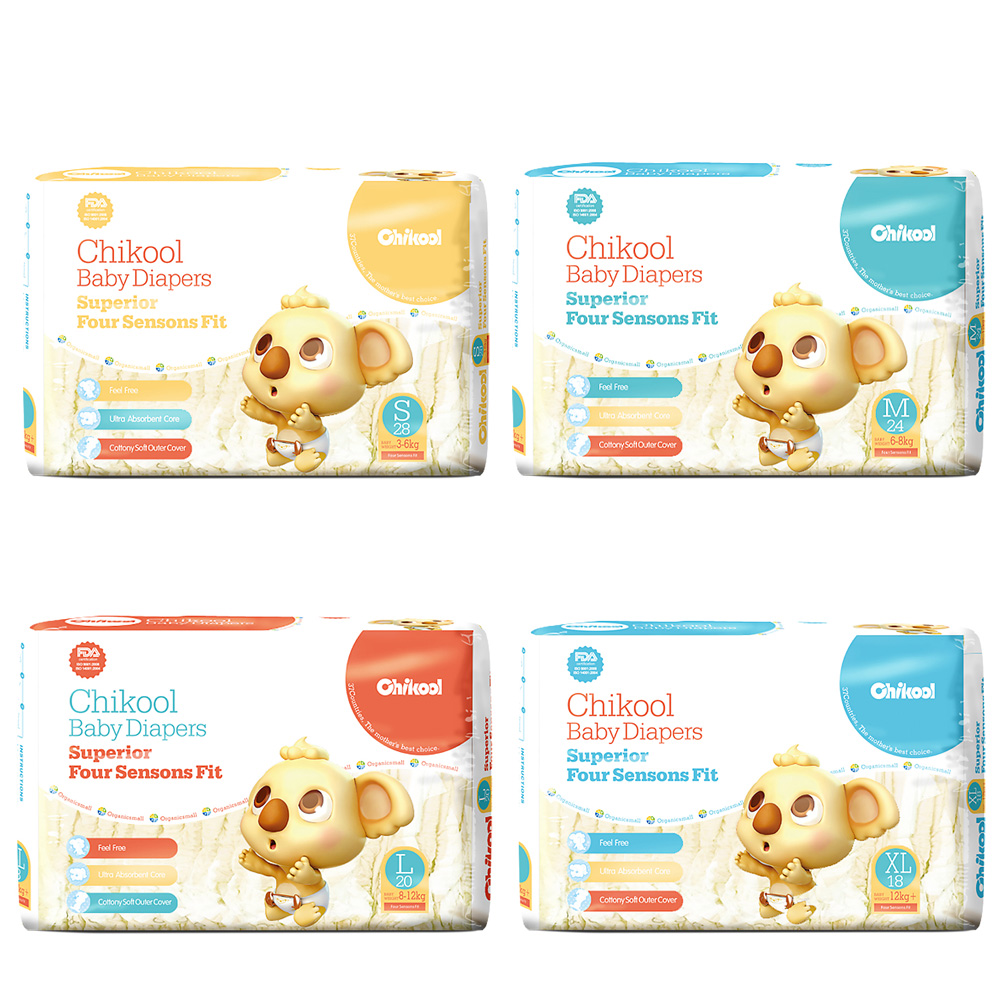 Baby Diaper Chikool 28PCs Size S/M/L/XL For 3-12kg Lasting Dry Disposable Diapers Nappy Extra absorbency leakage protection