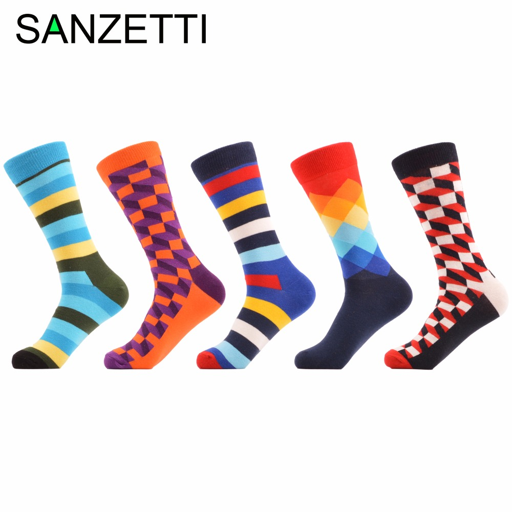 SANZETTI 5 pairs/lot Funny Bright Colorful Striped Filled Optic Argyle Men Socks Combed Cotton Casual Crew Socks For Mens Gift