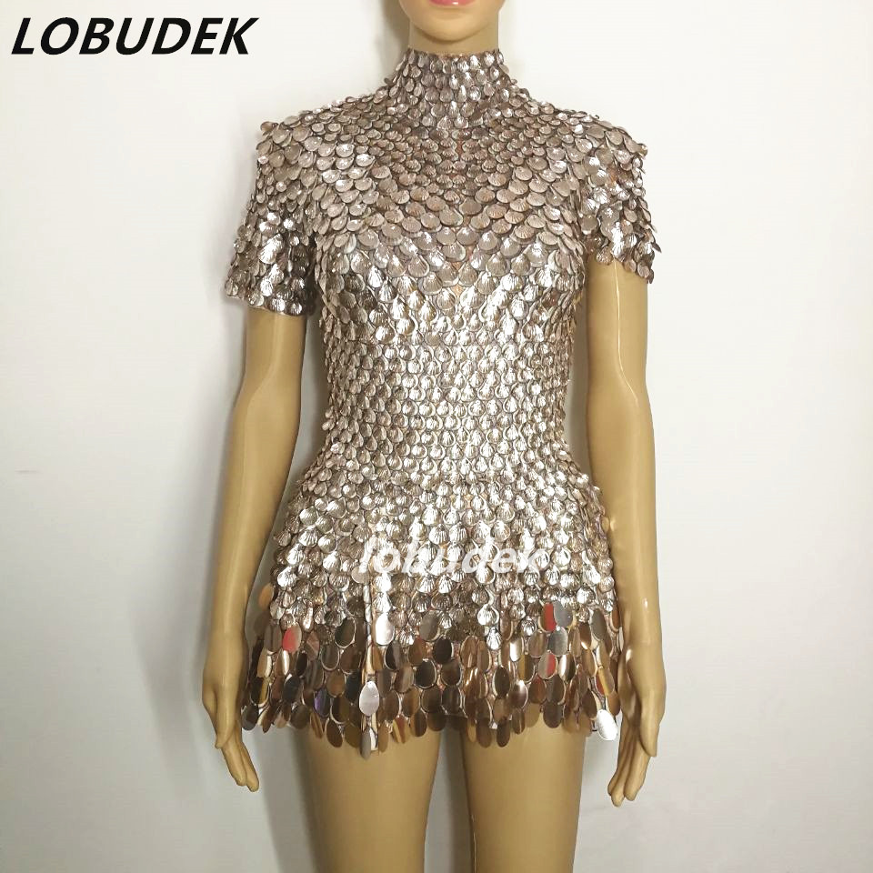 Female Sexy Gold Sequins One-piece Nightclub Costumes Crystals Bodysuit Sexy Jazz Performance Dance Prom Party Show Star