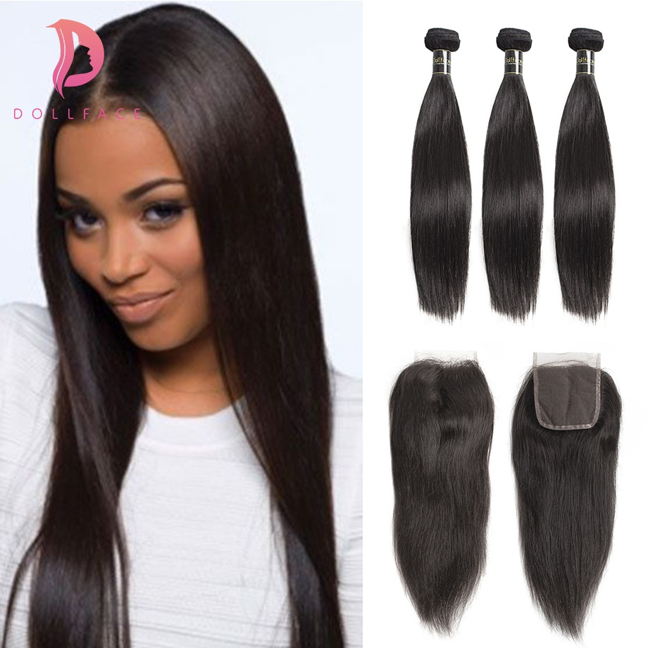 Dollface Cambodian Hair Bundles with Closure Straight 3 Human Hair Bundles with Closure virgin Hair Extension