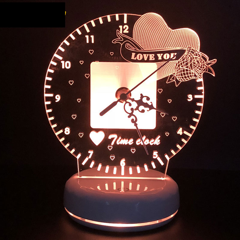 3D Led Night Light Time Clock Lamp Romantic Heart Love You USB Power Remote Control Option +Touch Switch Colorful Table Lamp