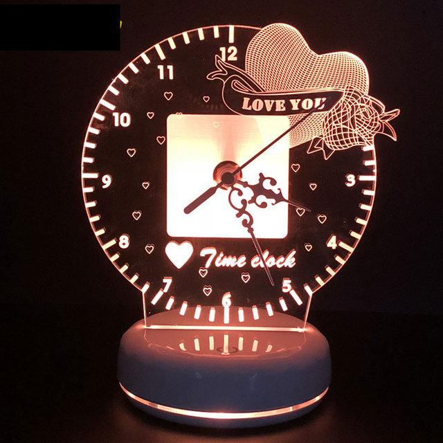 HEART LOVE 3D LED TABLE CLOCK