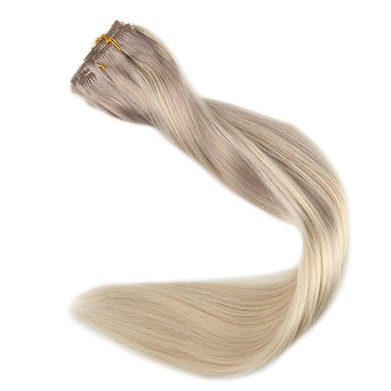 Full Shine Double Weft Clip In Blond Roots Hair Extensions Color 18 Fading To 22 And 60 Nordic 9Pcs 100g Machine Made Remy Hair