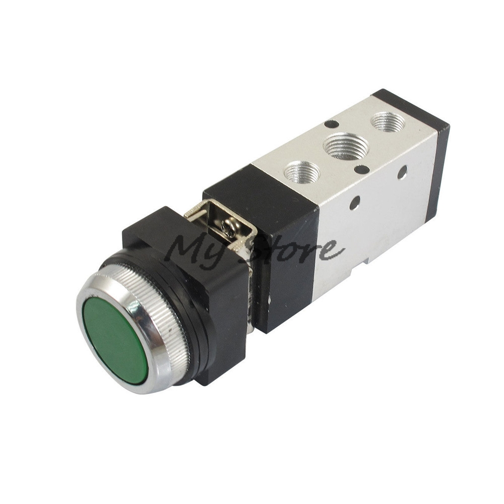 Pneumatic Valve Switch MV522PP 12mm Thread 2 Position 5 Way Green Flat Button Air Mechanical Valve tv 3s pneumatic toggle valve 5mm thread 2 position 3 way mechanical air pneumatic valve