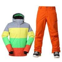 GSOU SNOW Brand Winter Ski Suit Men Ski Jacket Pants Waterproof Snowboard Sets Outdoor Skiing Snowboarding