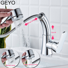 GEYO Kitchen Pull Faucet lifting Faucet hot And Cold Telescopic 360 Rotating Copper Single Hole Bathroom Wash Basin Sink kitchen hot and cold water faucet can be rotated sink faucet copper wash basin faucet three colors optional wx5081057