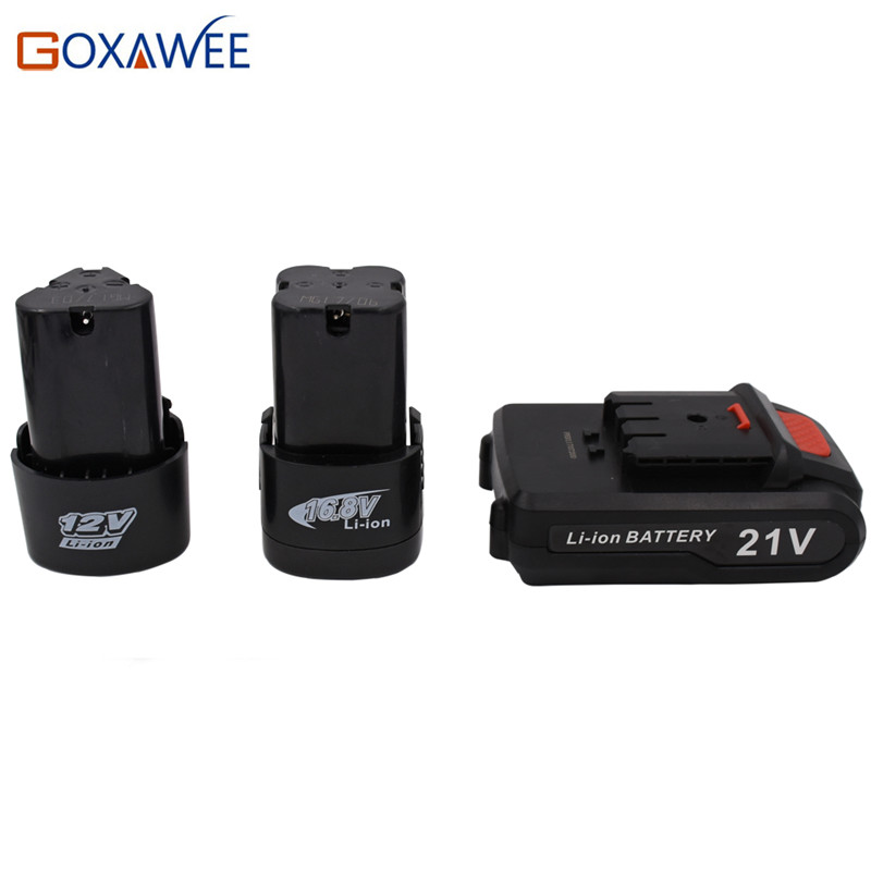 Goxawee 12V 16.8V 21V Rechargeable Lithium Battery For Cordless Electric Screwdriver Electric Drill Household Power Tool
