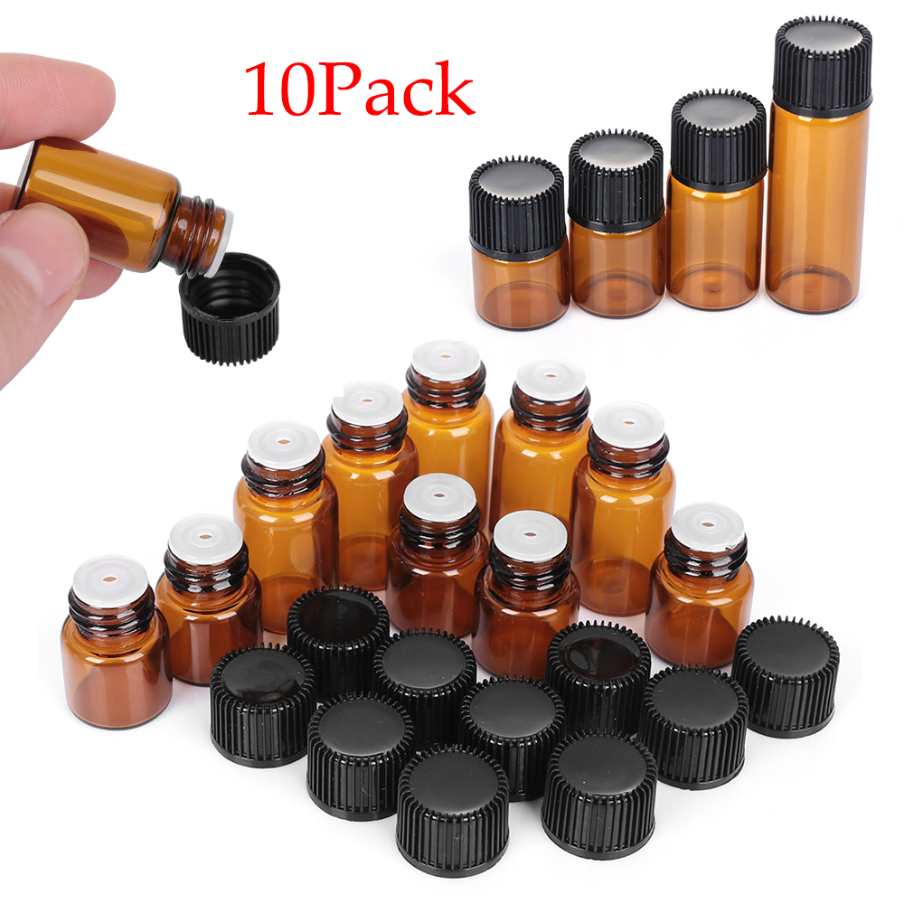 Considerate 10pcs 1/2/3/5ml Mini Essential Oil Bottle Jar Orifice Brown Reducer & Cap Refillable Bottles Glass Vials Cosmetic Containers To Help Digest Greasy Food Storage Bottles & Jars