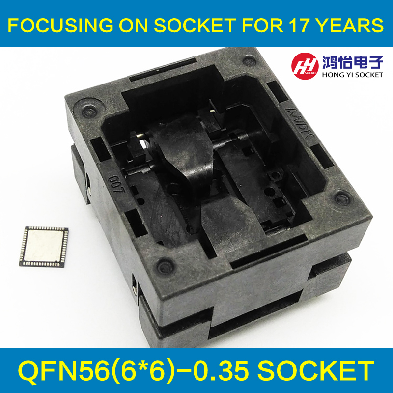 QFN56 MLF56 WLCSP56 Burn in Socket Pogo Pin Probe Test Socket Pitch 0.35mm IC Body Size 6x6mm Open Top Flash Adapter qfp176 tqfp176 lqfp176 burn in socket pitch 0 5mm ic body size 24x24mm otq 176 0 5 06 test socket adapter