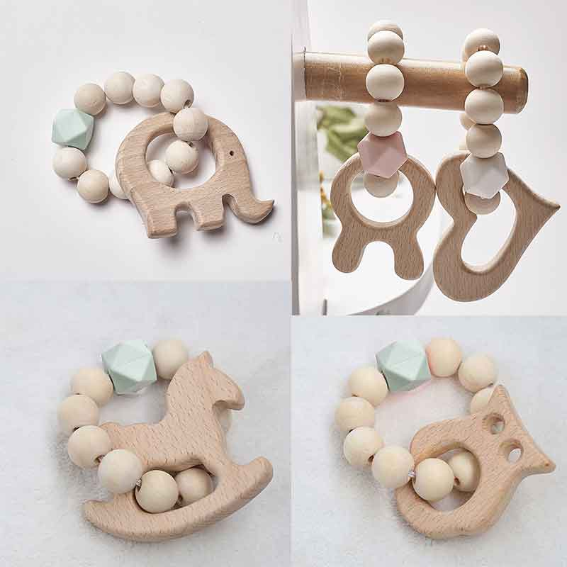 Wooden Teether Ring Baby Bracelet Animal Shaped Jewelry Teething For Baby Wood Beads Baby Rattle Stroller Accessories