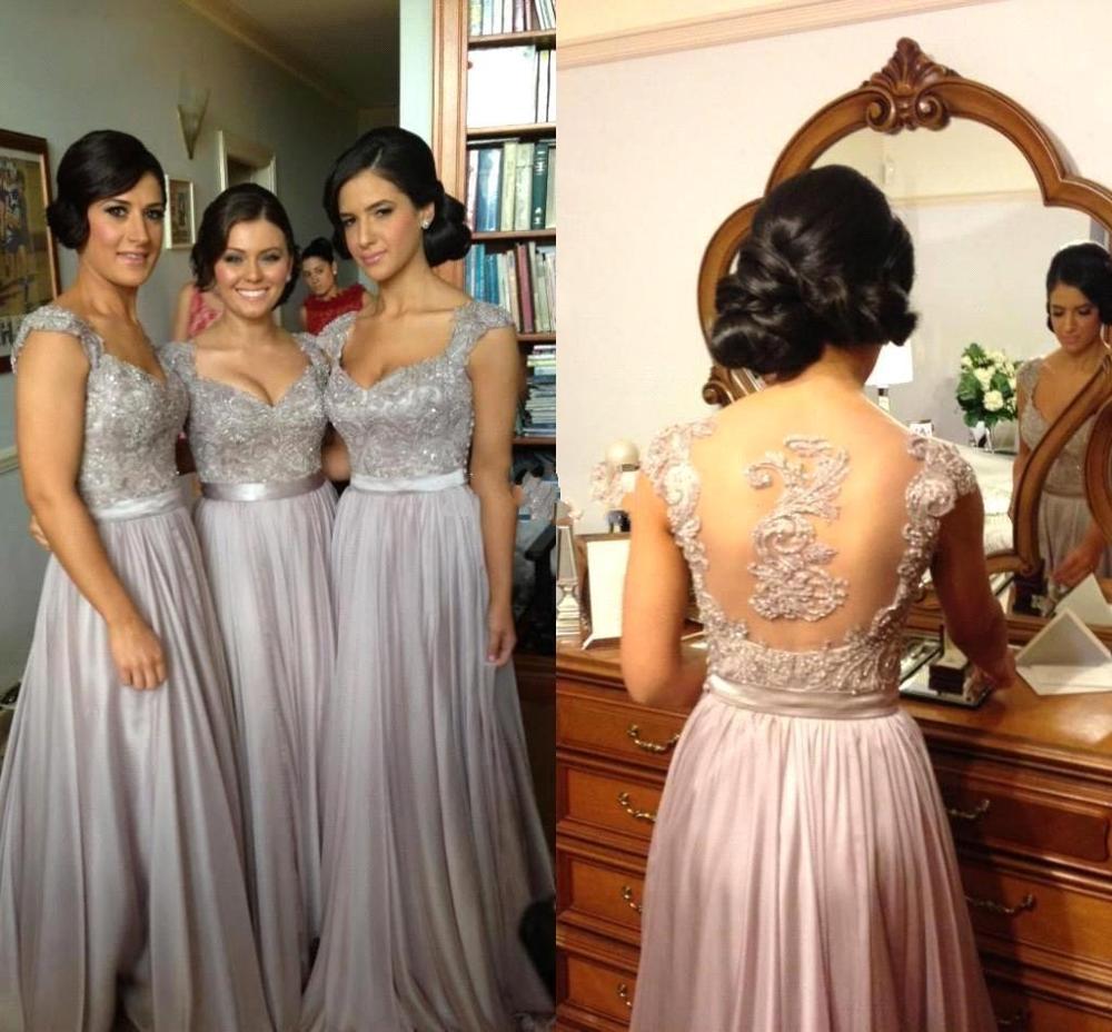 Robe demoiselle d'honneur A Line Silver Chiffon   Bridesmaid     Dresses   Long 2019 Sexy Illusion Back Beaded Appliques Prom   Dresses