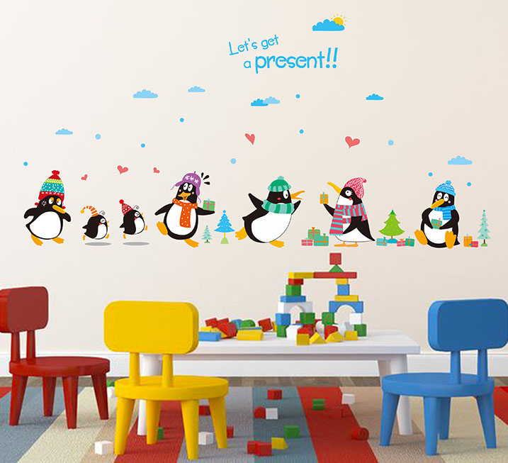 Penguin Present Wall Decal Sticker Kids Room Nursery Wall Art Mural Decor Poster Cute Penguin
