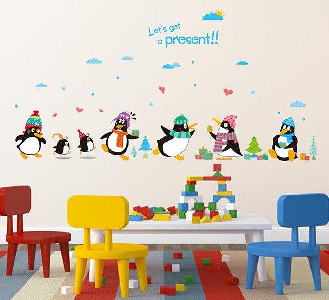Wandtattoo kinderzimmer  Pinguin Präsentieren Wandtattoo Kinderzimmer Kindergarten ...