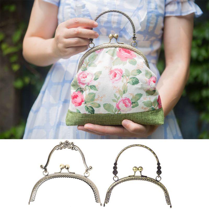 THINKTHENDO Popular New 1pc Metal Frame Kiss Clasp Lock Handle Arch For DIY Purse Bag DIY Craft 16.5cm