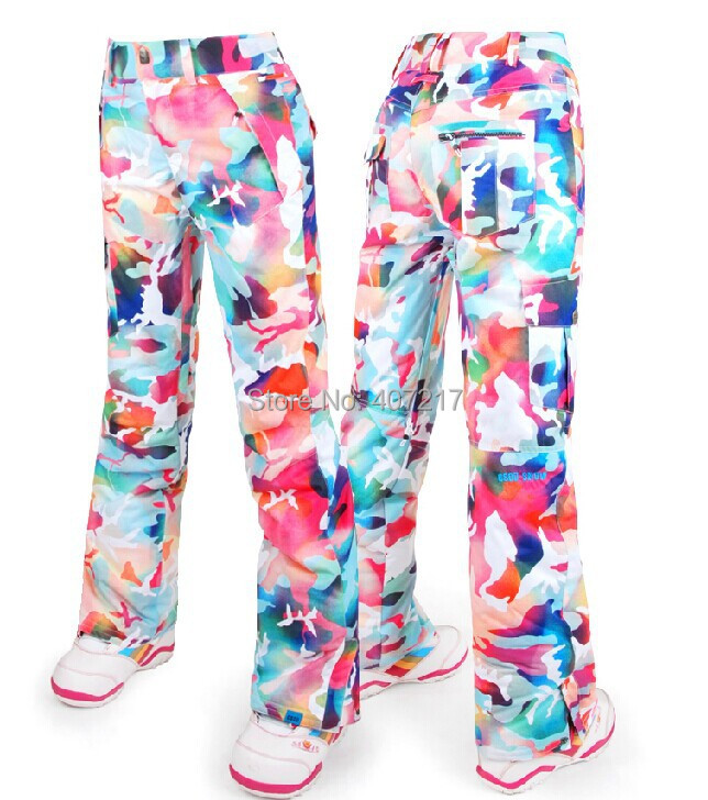 2014 gsou snow womens camouflage ski pants ladies snowboarding pants riding skating pants snow pants waterproof 10K top quality