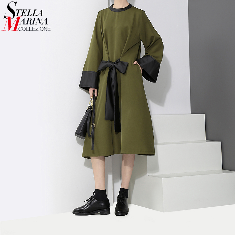 2017 New Fashion Women Winter Clothes Army Green Midi Dress Waist With Bow Belted Convertible Ladies