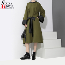 2017 New Fashion Women Winter Clothes Army Green Midi Dress Waist With Bow Belted Convertible Ladies Party Club Wear Dress 2902