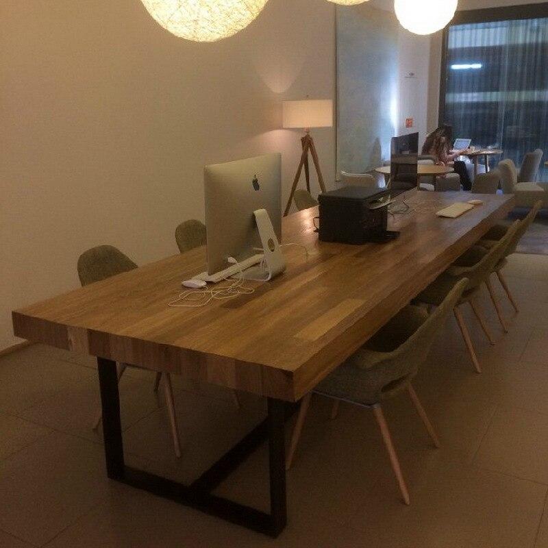 americana loft comedor retro combinacin de madera maciza hierro forjado mesa larga mesa escritorio de la computadora de escritorio mesa de conferencias de - Mesas De Madera Maciza