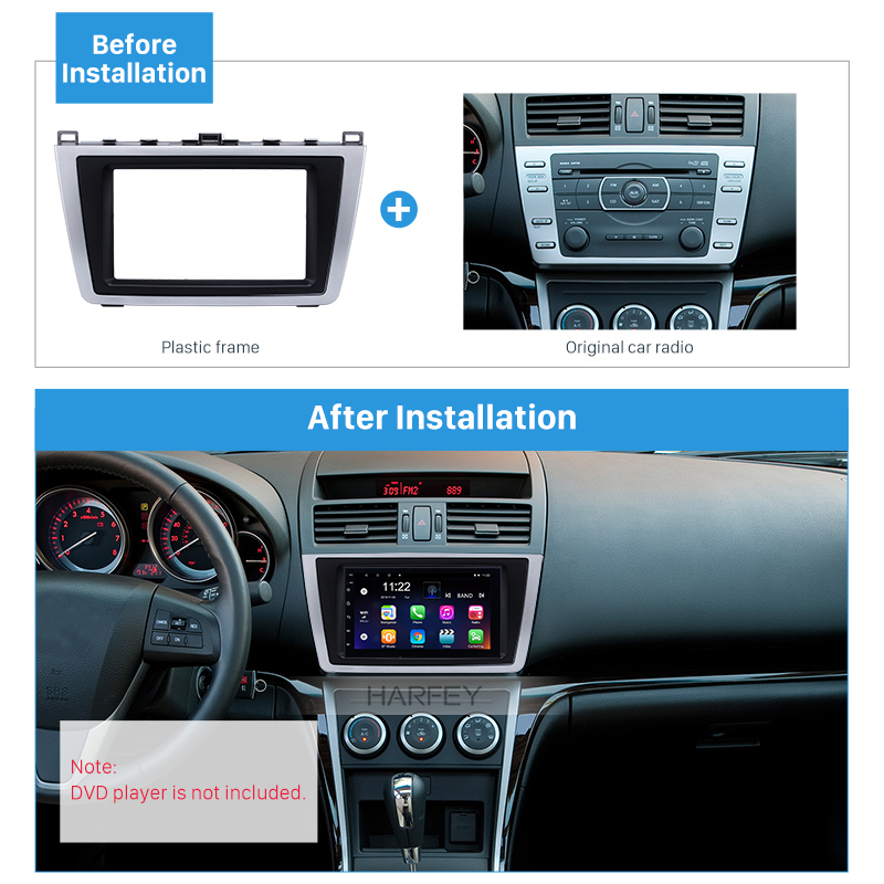 Harfey Car 2DIN GPS Fascia Trim <font><b>Kit</b></font> Navi Frame Panel for <font><b>Mazda</b></font> <font><b>6</b></font> 2009 2010 2011 2012 2013 <font><b>Dash</b></font> Mount Plastic Metal Silver Black image