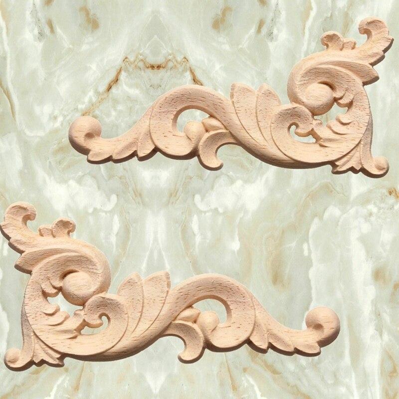 New 1pc Woodcarving Decal Corner Applique Frame Door Decorate Wall Doors  Furniture Decorative Figurines Wooden Miniatures In Figurines U0026 Miniatures  From ...
