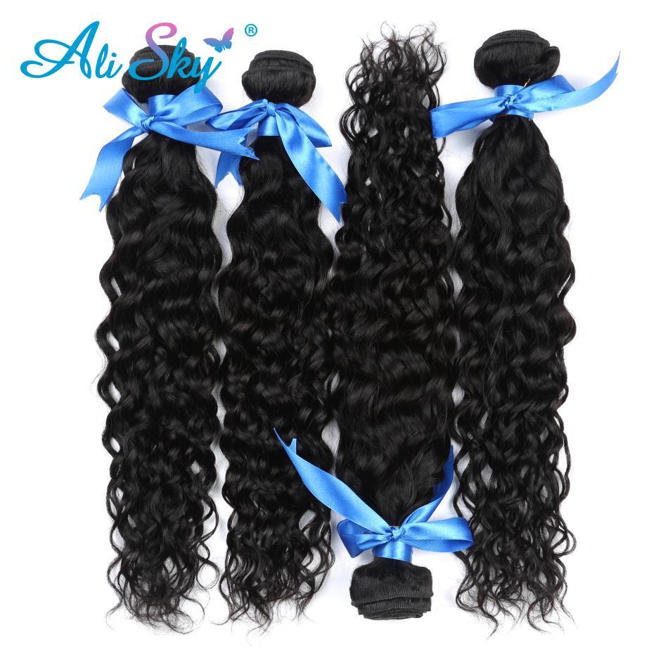 Alisky cabelo onda de água pacotes com fechamento tecer cabelo brasileiro 4 pacotes com 5x5 fechamento cor natural remy extensão do cabelo - 6