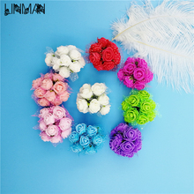 Colorful Paper Flowers artificial flower 144 head Mini Rose Home Decor for wedding small roses bouquet decoration