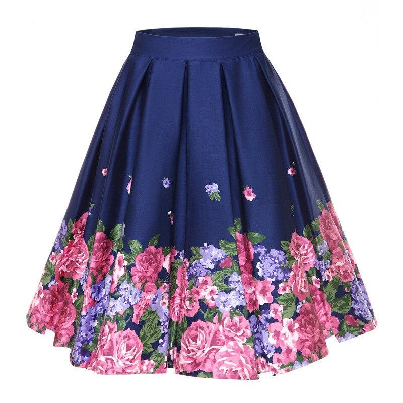 Woman Retro Floral Print Vintage Pleated Skirts Womens 2019 High Waist Plus Size Midi Cotton Summer Black Skater 4XL Swing Skirt