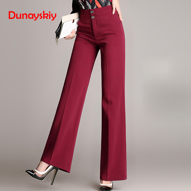 Dunayskiy Plus Size Loose 4XL Black Office Lady Work Wears Women   Pants   High Waist Female   Wide     Leg     Pants   Trousers High Quality