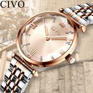 Image 1 - CIVO relojes de lujo a la moda con cristales, correa de acero impermeable para mujer, relojes de cuarzo de la mejor marca con diamantes de cristal, reloj para mujer