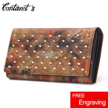 Contact's Brand Rivet Wallets Women Genuine Leather Long Clutch Wallet America Style Zipper Coin Purse Cellphone Bag Card Holder(China)