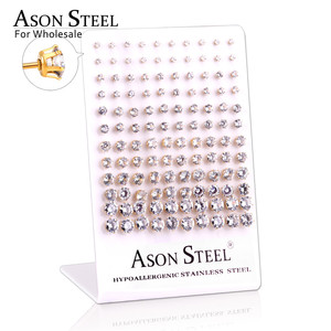Image 2 - ASONSTEEL 60pairs/Lot Wholesale Clear Stud Earrings Round Stainless Steel Hypoallergenic Earring,Size 3 8mm(Each Size 10pairs)