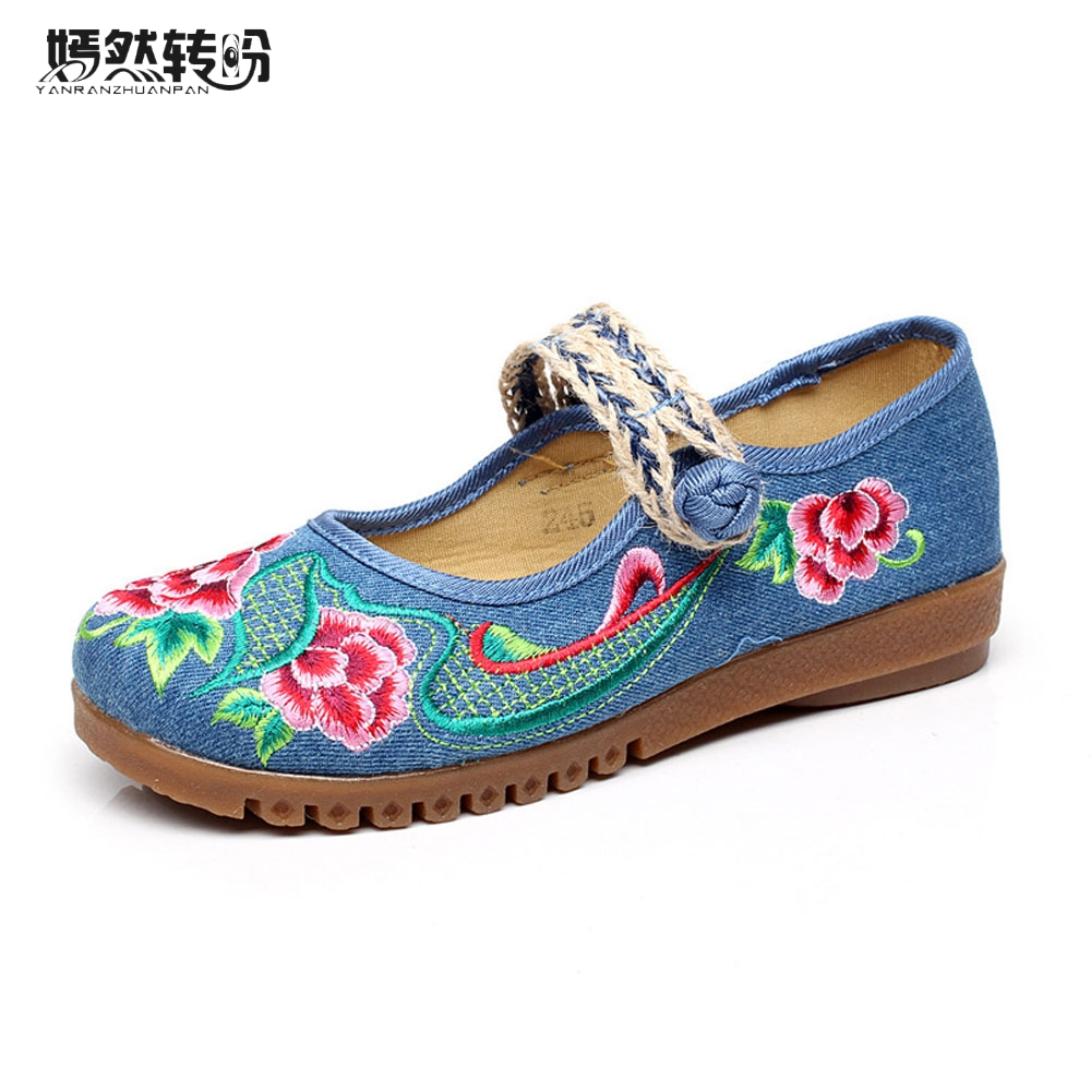 Vintage New Women Shoes Flats Spring Summer Flower Embroidered Cotton Breathable Woven Casual Ballet Shoes Zapatos Mujer vintage women flats old beijing mary jane casual flower embroidered cloth soft canvas dance ballet shoes woman zapatos de mujer