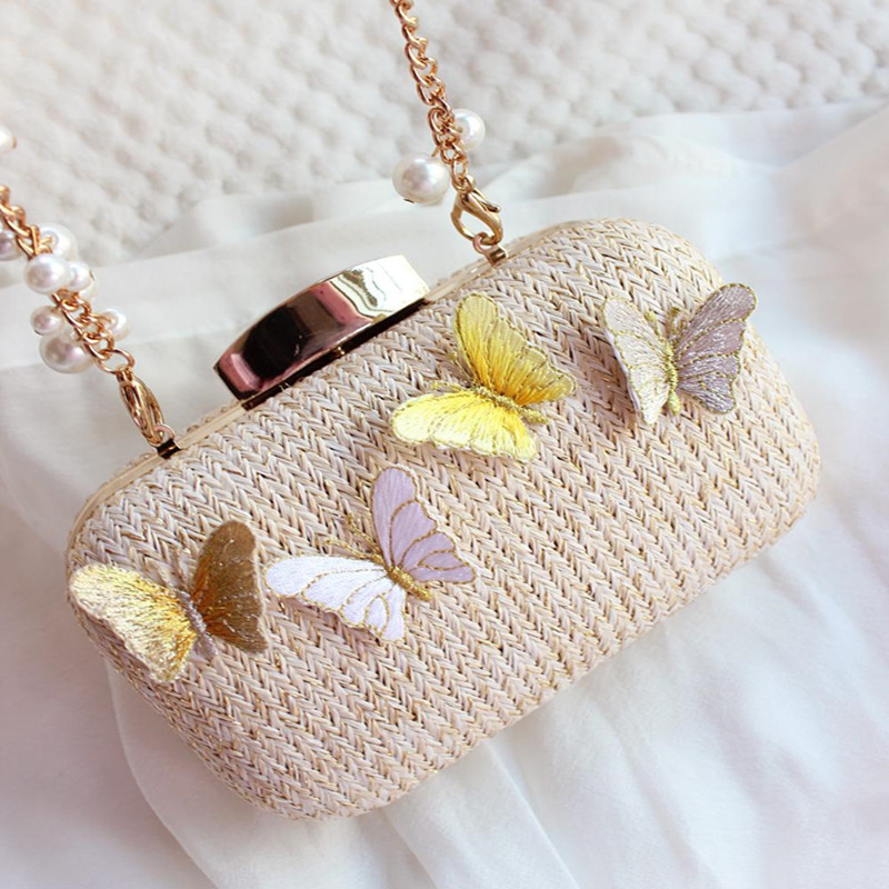 ФОТО 2017 NEWwoman Straw shoulder bag diagonal package fashion handbags clutch evening bags beach bag small fresh evening bag
